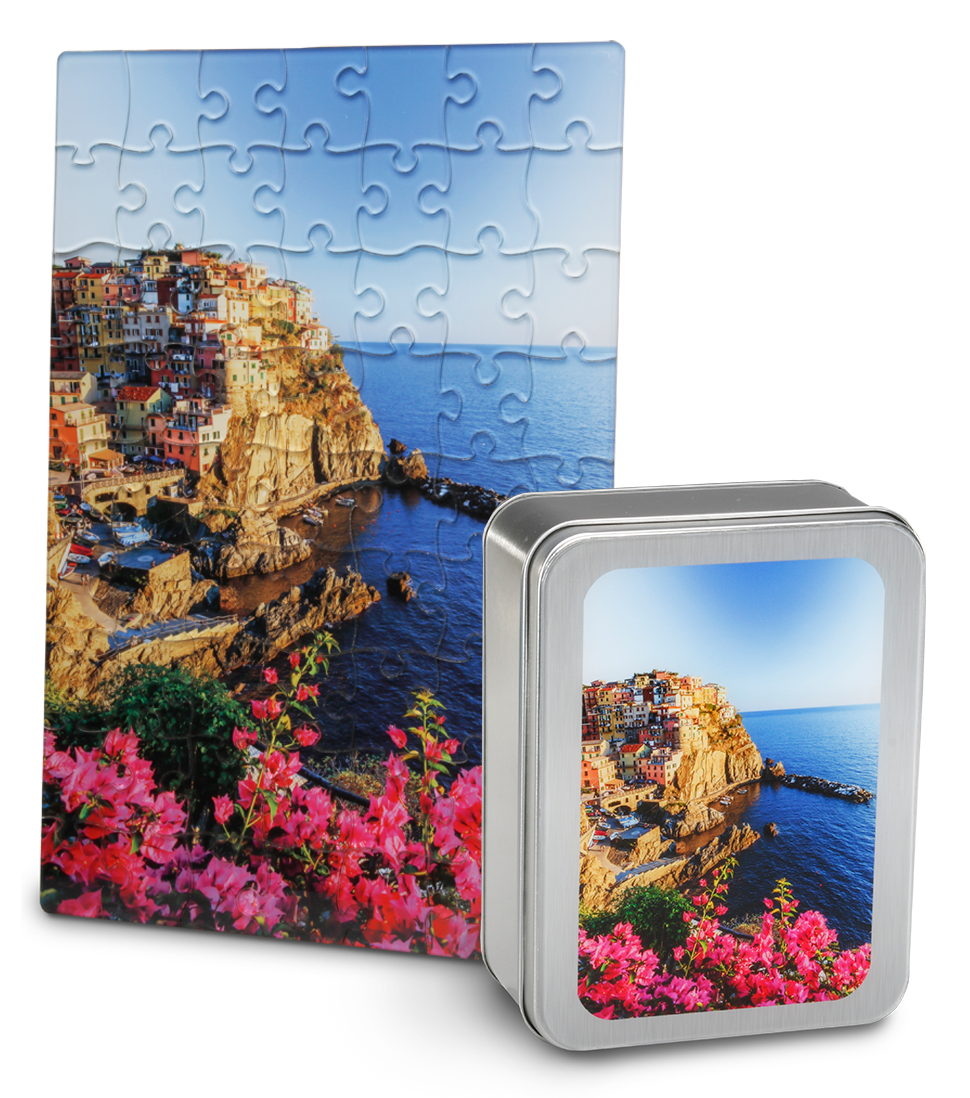 Acrylic Print Puzzle and Tin